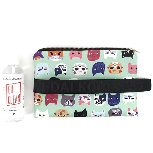 Water-Resistant Wristlet in Colourful Cats on Green