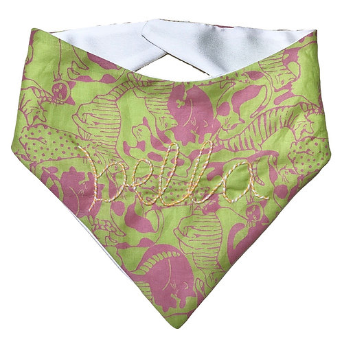 Cat Collar Bandana with Hand Embroidered Name (Pink/Green Cats)