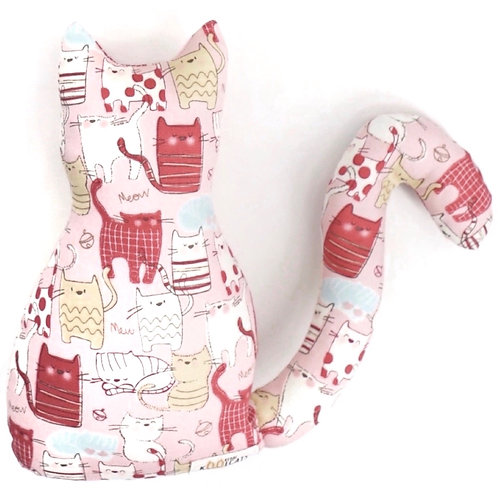 Kitten Cushion in Pink Cats on Pink