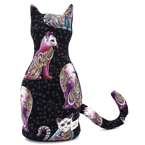 Cat Door Stopper in Colourful Cats on Black