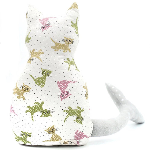 Mercat Cushion in Pastel Cats on White