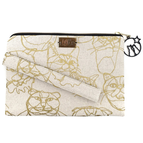 Wristlet in Gold Cats on Beige (Purr-sonalisation Available)