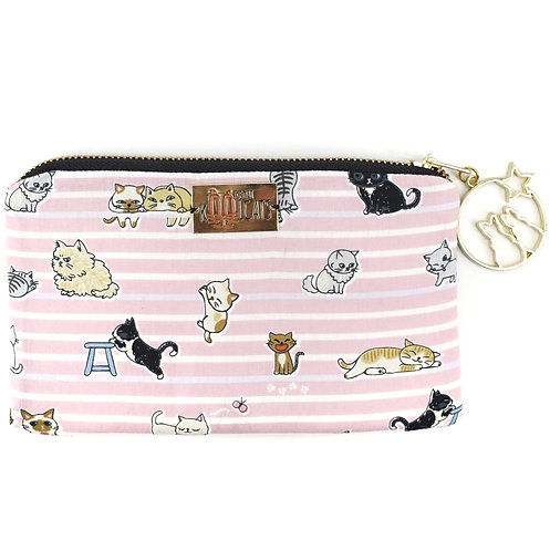 Pouch in Cats on Pink Stripes