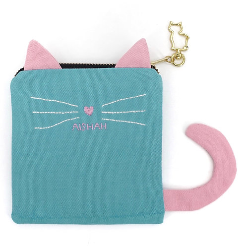 Cat Pouch in Blue/Pink with Hand Embroidered Name
