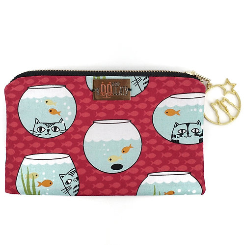Pouch in Cats and Fishes on Pink