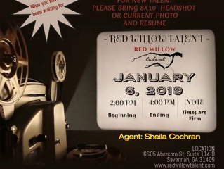 Red Willow Talent's OPEN CALL - For New Talent Being Held January 6, 2019 In Savannah, GA