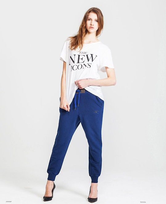 Women's Sweat Pants - coated denim