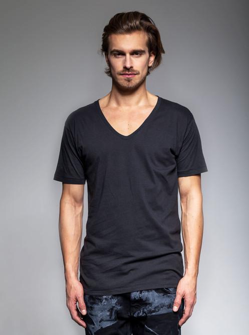 f8278d6e781a MENS DEEP V-NECK TEE >> vintage black 100% cotton jersey t-shirt featuring a  ...