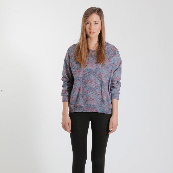 Y-TVOP Turquoise/Pink Sweater Sq2 Aqua Print