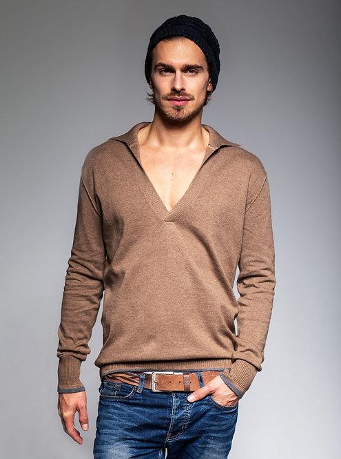 Men's Knit Pullover - almond brown htr