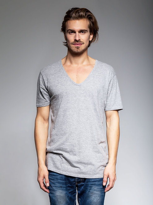 Men's V-Neck Tee in Grey Htr