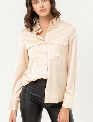 Champagne Silk Button Down