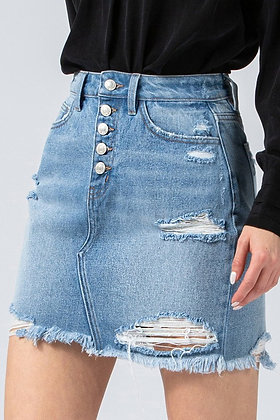 Distressed Button Up Skirt