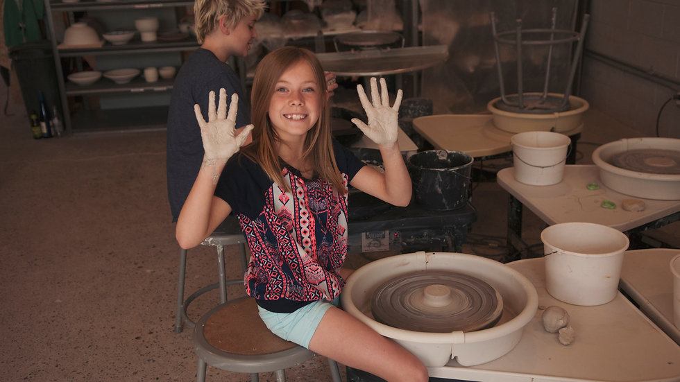 Intro to Wheel Thrown Pottery, Fridays July 23rd - Aug 13th, ages 8-14