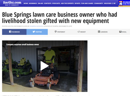 Blue Springs lawn care business owner who had livelihood stolen gifted with new equipment
