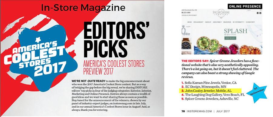 InStore Magazine, John Cauley Jeweler, America's Coolest Jewelry Store, Online Presence, Editor's Pick, Winner