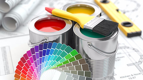 Construction. Cans of paint with colour