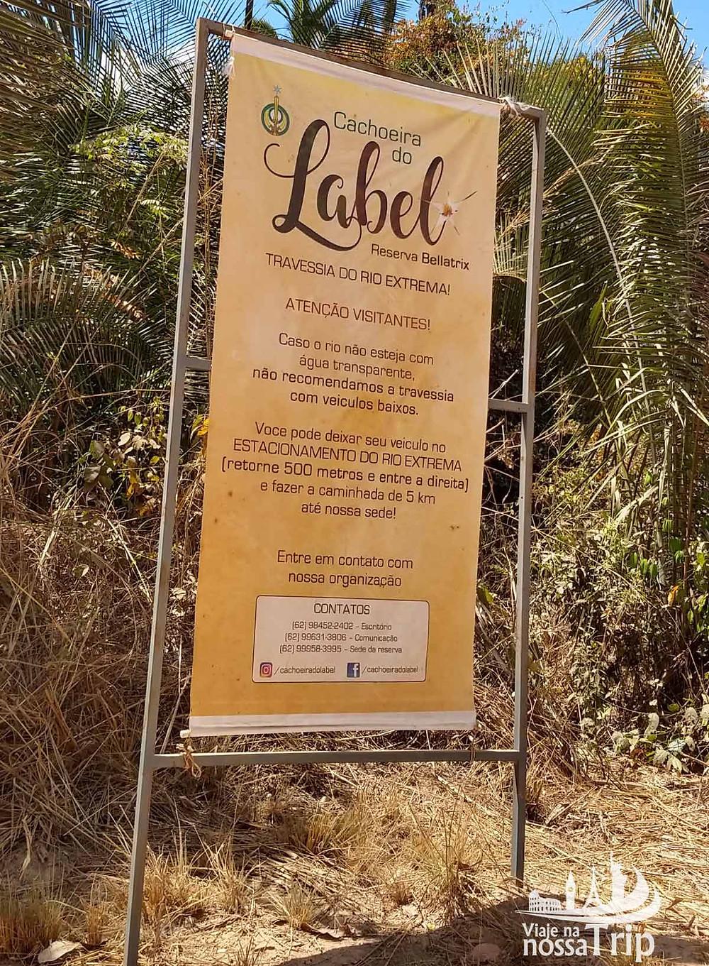 Placa Alerta sobre a Travessia do Rio Extrema
