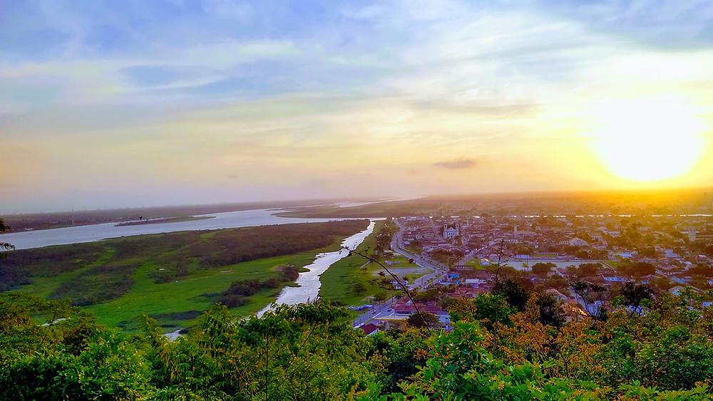 Vista Parcial de Iguape com Mar pequeno e Ilha Comprida a Esquerda