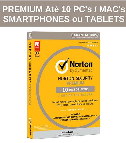 Norton Security PREMIUM - Licença 366 dias p/ até 10 dispositivos