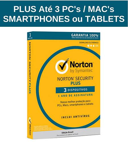 Norton Security PLUS - Licença 366 dias p/ até 3 dispositivos