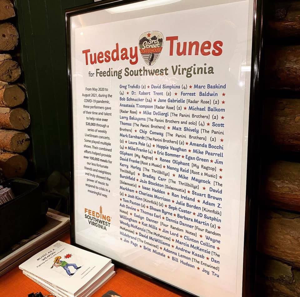 Tuesday Tunes for Feeding Southwest Virginia poster with musicians' names