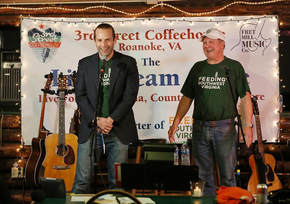 Joe Kessler and Bob Schmucker onstage at 3rd Street Coffeehouse