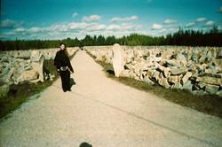 Anne at the Winter War Memorial in Suomussalmi, Finland