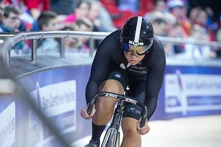 Steph in action during the individual sprint at the World Championships this year, photo Guy Swarbrick/Cycling New Zealand