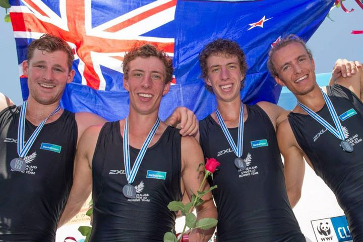 Lewis Hollows (left) Don Oliver Youth sport foundation athltete with Silver Medalist Mens Quad team at U23 World CHampionships.