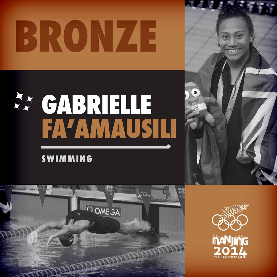 Gabrielle Fa'amausili Don Oliver Youth Sport Foundation sports scholarship recipient.  Bronze in Youth Olympic Games 50m backstroke swimming.  Photo courtesy of NZ Olympic Team.