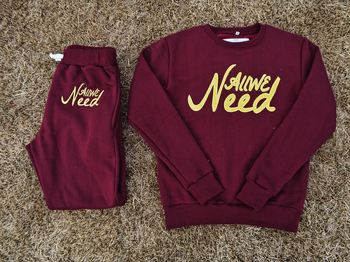 """All We Need"" Sweatsuit (Burgundy)"