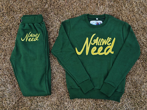 """""""All We Need"""" Sweatsuit (Forest)"""