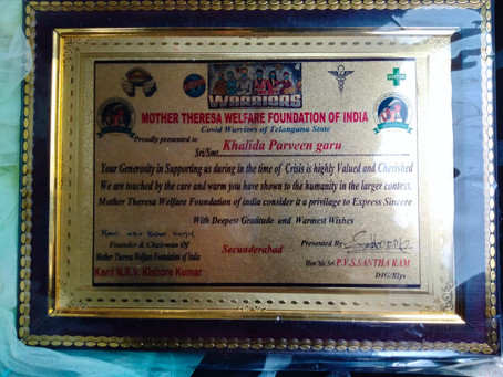 Received Mother Teresa Award