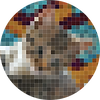 A pixellated picture of a cat called Patapouf.