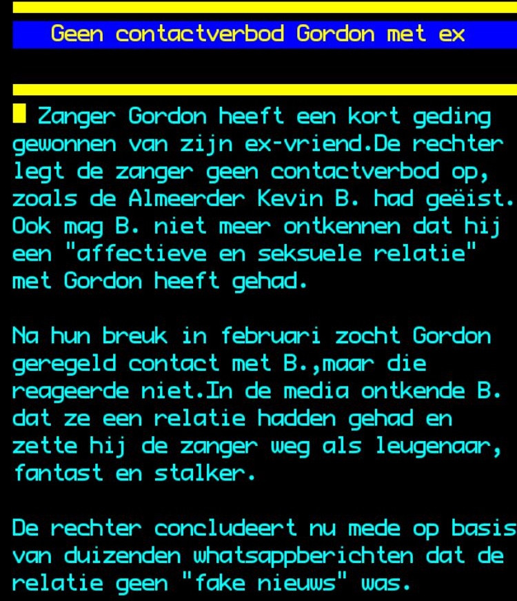 Gordon krijgt geen contactverbod