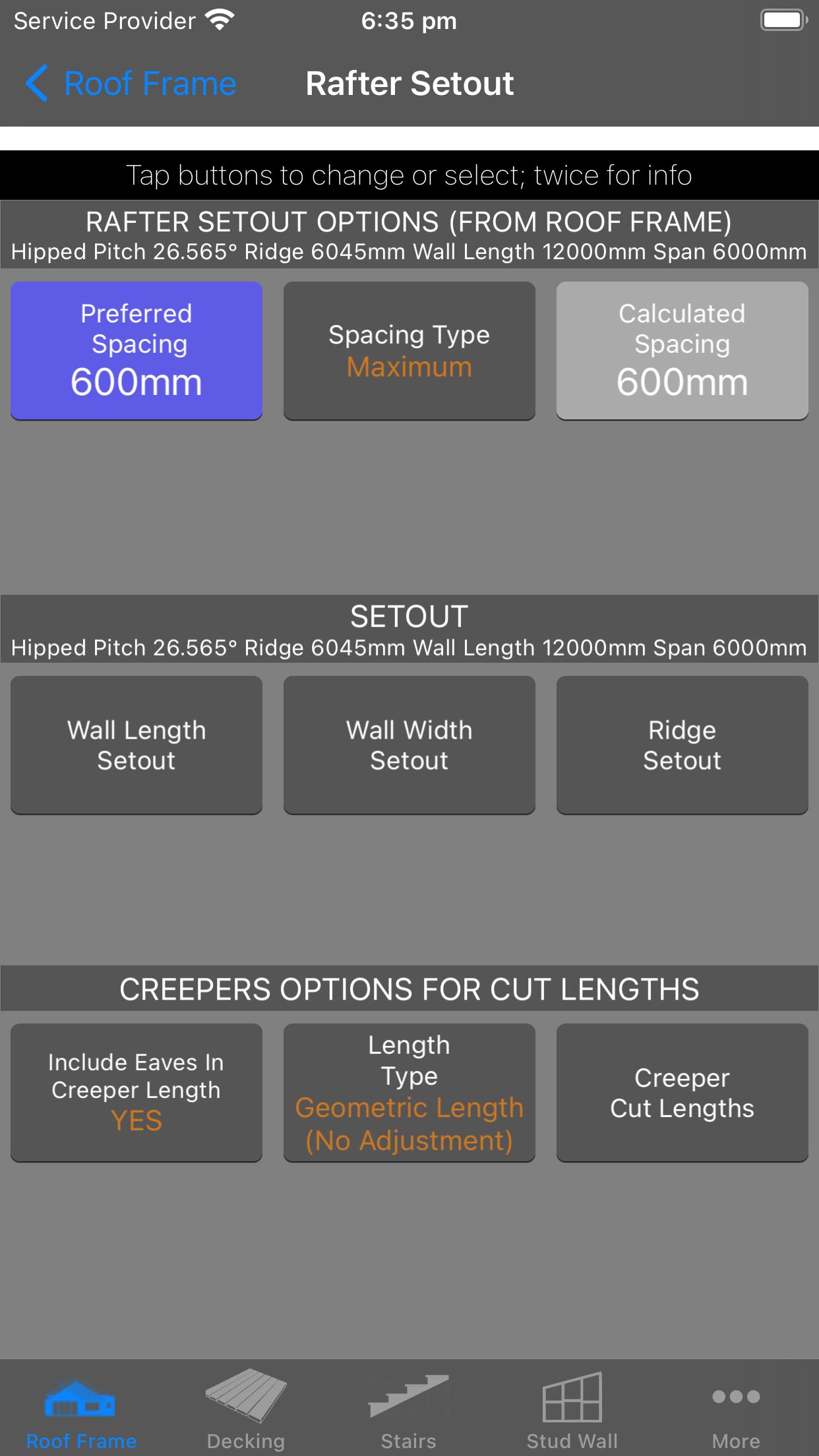 Rafter Setout - Metric