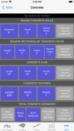 Concrete  - Feet Inches Fractions