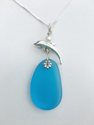 Blue Glass Necklace with Dolphin