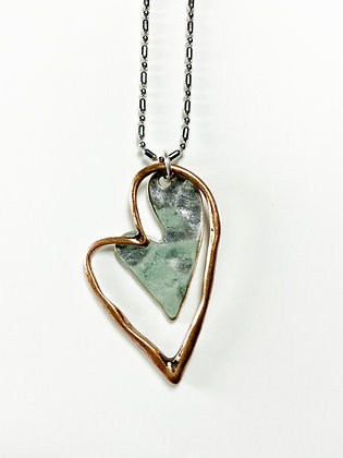 Cooper and Silver Heart Necklace