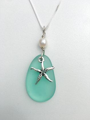 Aqua Sea Glass Necklace with Starfish