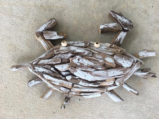 Light Blue Driftwood Crab Decor