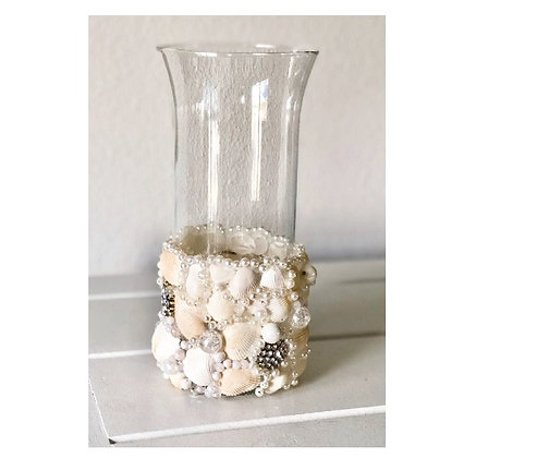 Cylinder Vase with Shells and Bling