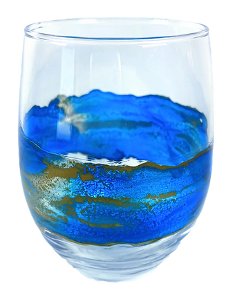 Painted Stemless Wine Glass