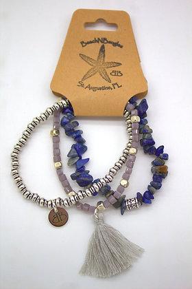 Blue and Silver Trio Bracelet