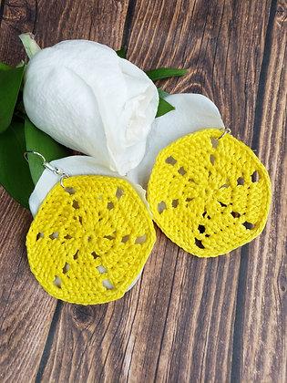 Sand Dollar Yellow Earrings