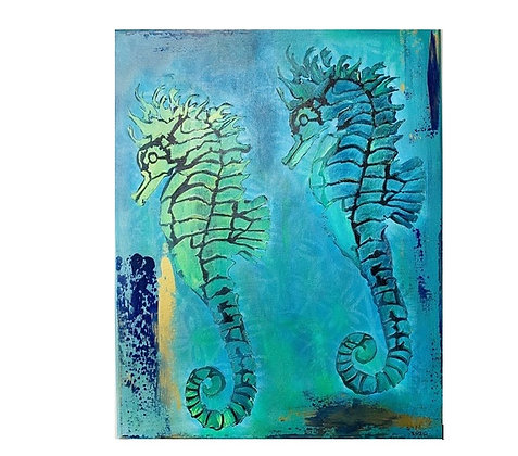 Painting of 2 Seahorses