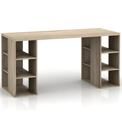 Bloc Desk with Storage Shelves - Light Sonoma Oak