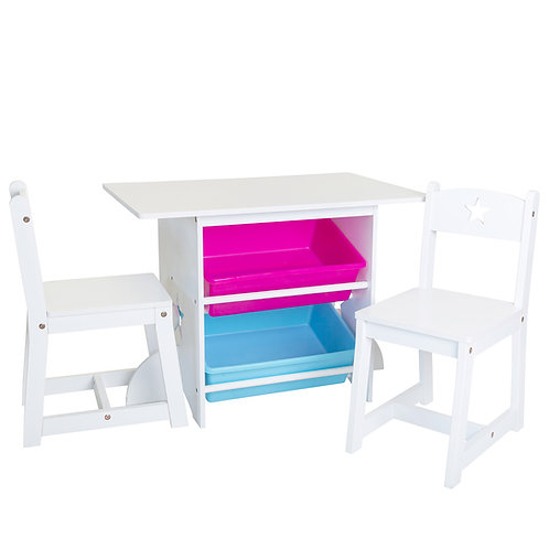 Mia Kids Table and Chair Set with Large Storage Bins