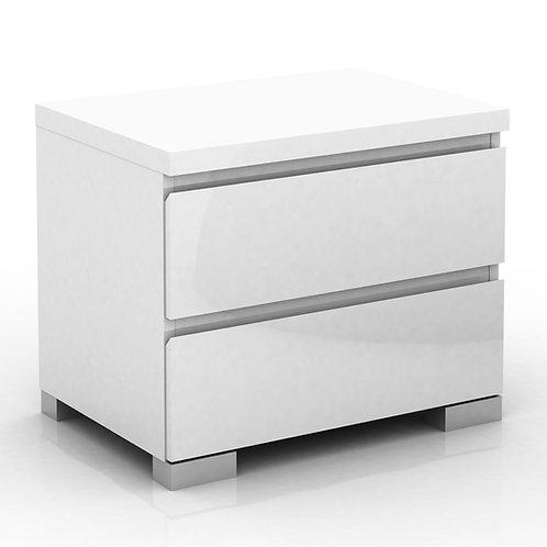 Elara 2 Drawer High Gloss Bedside Table - White